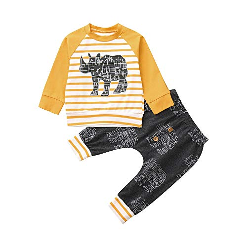 Kehen Infant Newborn Baby Girl Boy Spring Autumn Clothes Cotton Outfit 2pc Long Sleeve Pullover + Pants Rhino Pattern Yellow 0-6 Months]()