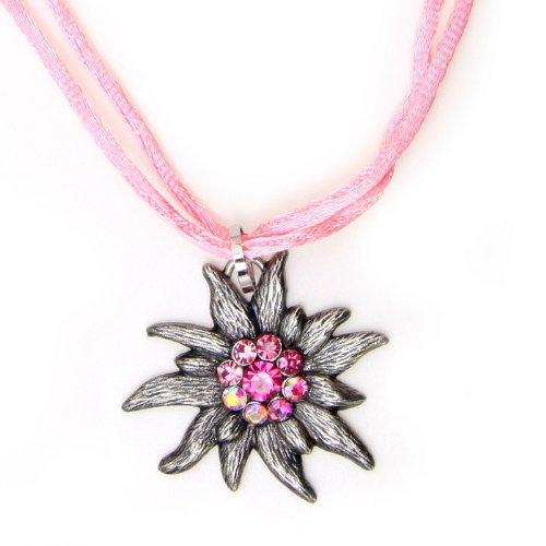 Rosa Edelweißkette an Kordband mit Straß, 42cm + 6cm Verlängerung (rosa)