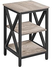 Yaheetech Bijzettafel, nachtkastje, X-vormige stutten, banktafel, kleine salontafel, metalen frame, met 3 niveaus, industrieel design, 39,5 x 39,5 x 61 cm