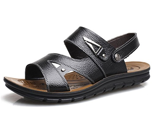 Scarpe sandali di cuoio YCMDM Uomo all'aperto Athletic Casual Tallone piano Vuoto-fuori nero / marrone , black , 42