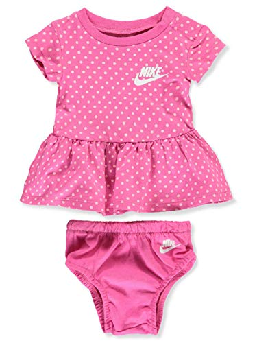 Nike Baby Girls' Dress with Diaper Cover - Laser Fuchsia, 6 Months (Girl Clothes Baby Nike)