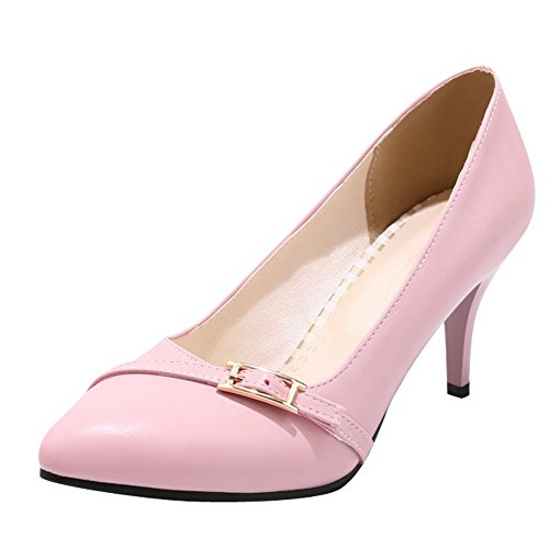 Charm Foot Womens High Heel Pointed Toe Elegant Pumps Shoes Pink