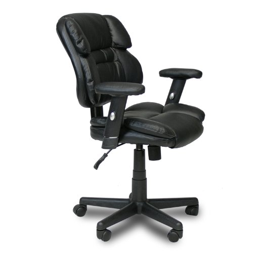 Furinno WA-5174-1 Hidup Leather Mid Back Executive Chair, Black (Bankers Chair Cushion)