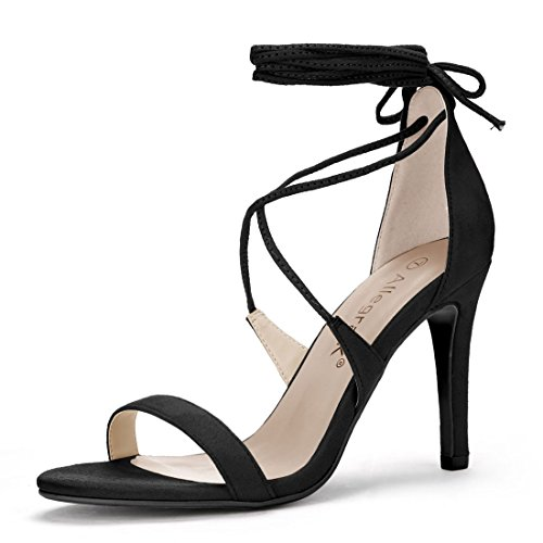 Lace Lace Wrap Up (Allegra K Women's Open Toe Stiletto High Heel Lace-up Sandals (Size US 5) Black)