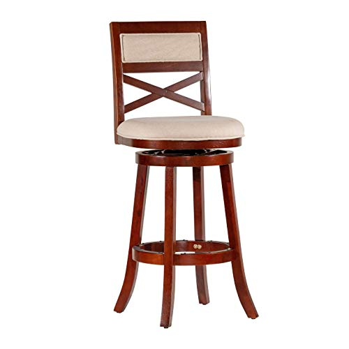 DTY Indoor Living Meeker X Back Upholstered Swivel Stool, 30 Bar Stool or 24 Counter Stool 30 Bar Height, Cherry Finish w Beige Seat