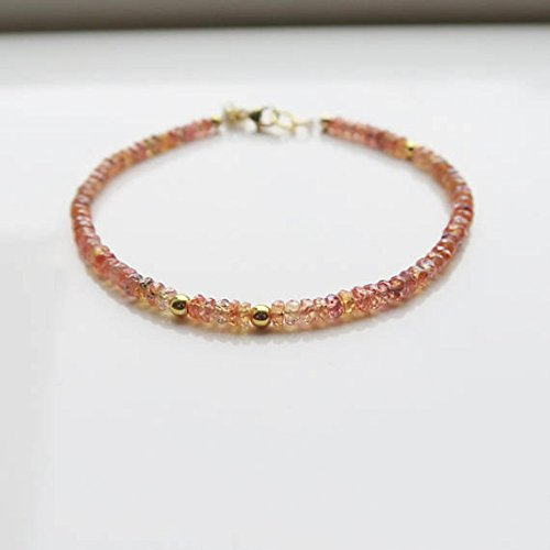 (JP_Beads Songea Sapphire Bracelet | Septmeber Birthstone Gift | Amber Bracelet | Sunstone Bracelet | Bridesmaid Jewelry | Wife Gift | Sapphire Gift 3.5mm)