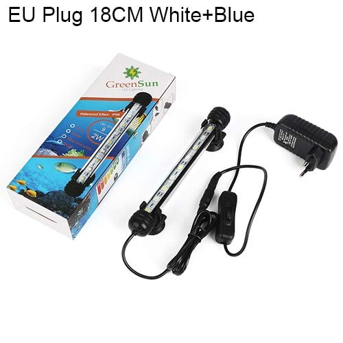 White with bluee 18cm Pukido Aquarium Light Fish Tank LED Lighting Waterproof Submersible Bar Tube Clip Lamp Aquariums Decor Accessories bluee White (color  White with bluee 18cm)