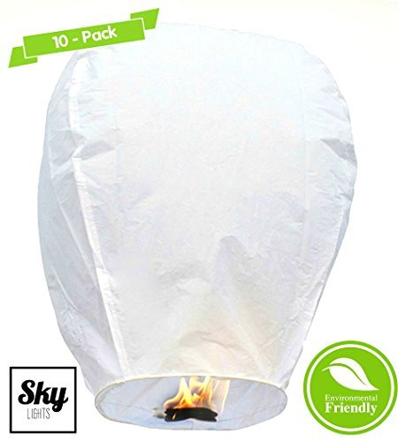 PREMIUM Chinese Lanterns Box of 10. Handmade 100% Biodegradable. Perfect for Weddings, Parties, Celebrations, Festivals, Ect. By SKY LIGHTS