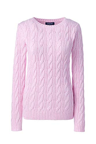 - Lands' End Women's Drifter Cotton Cable Knit Sweater Crewneck, L, Bright Pink Donegal