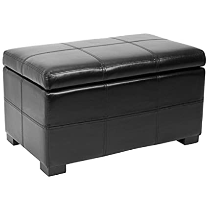Safavieh Hudson Collection Williamsburg Black Leather Small Storage Bench