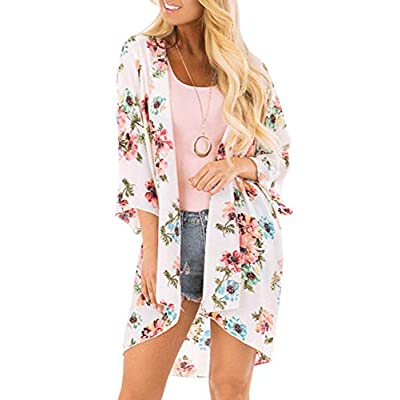 Chunoy Women Casual Chiffon Open Front Blouse Floral Kimono Cover Up Tops at Women's Clothing store