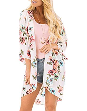 38522a1b9af Chunoy Women Casual Floral Print Kimono Shawl Sheer Chiffon Loose Cardigan