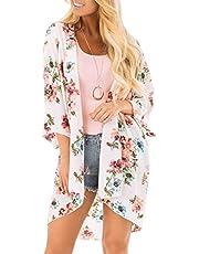 Chunoy Women Casual Floral Short Sleeve Chiffon Kimono Shawl Blouse Top
