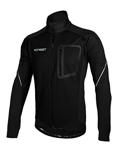 ICREAT Mens Cycling Jacket Windproof Breathable Running Coat Thermal High Visibility MTB Riding Jacket, Black M