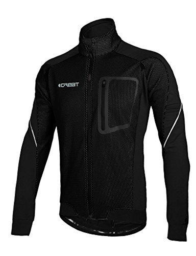 iCreat Herren Jacke Air Jacket Winddichte Lauf- Fahrradjacke MTB Mountainbike Jacket Visible reflektierend, Fleece Warm Jacket für Herbst, Schwarz Gr.L