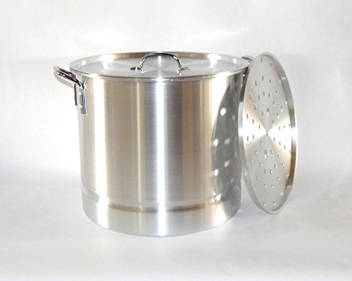 - Good friend62 Stock Pot w/Steamer Rack and Lid 32 QT Quart 8 Gal Aluminum