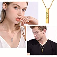 U7 Personalized Pendant Message Text Engrave Bar Necklace Stainless Steel/18K Gold/Black Gun Plated Vertical Cuboid Bar Necklace