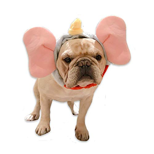 Elephant Costume For Dogs (Elephant Pet Costume Head Snood Hat for Dog Cat Halloween)