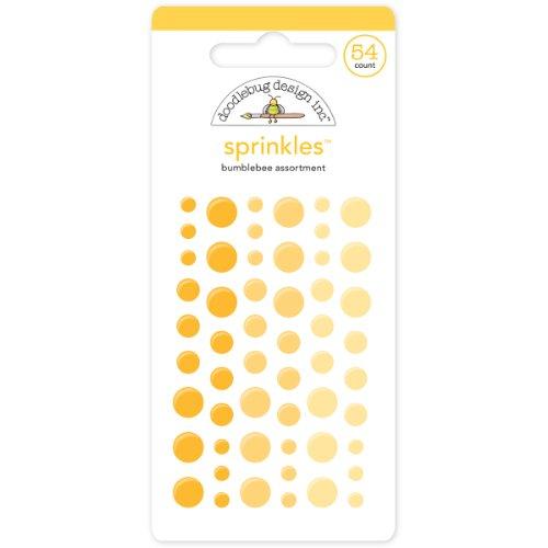 DOODLEBUG MONOS-4008 Sprinkles Glossy Enamel Adhesive, Bumblebee Dots, 54-Pack