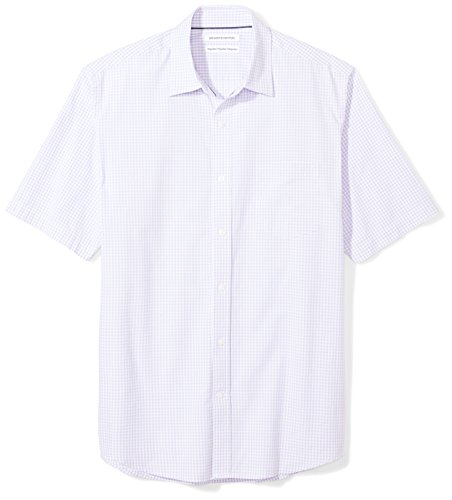 Amazon Essentials Men's Regular-Fit Short-Sleeve Casual Poplin Shirt, lavender gingham, X-Small