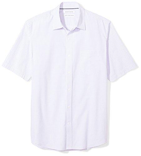 (Amazon Essentials Men's Regular-Fit Short-Sleeve Casual Poplin Shirt, lavender gingham, XX-Large)