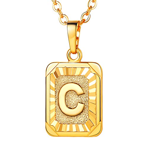 U7 Monogram Necklace Gift for Women 18K Gold Plated Square Script Initial Jewelry Letter Pendant (Letter C)