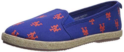 FOCO MLB New York Mets Women's Espadrille Canvas Shoes, Medium, Team Color ()