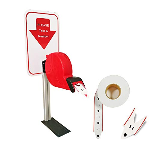 Take-A-Number System Queue Ticket Dispenser Machine with Counter Stand and 1 Queue Roll Queue Tape 2 Digits 2000 Tickets for Queue Call System (red, 2 Digits) ()
