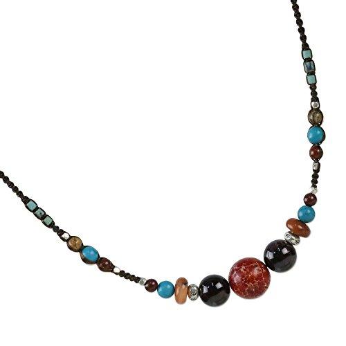 Agate Sterling Silver Designer Pendant - NOVICA Multi-Gem Garnet .925 Sterling Silver Beaded Necklace, 17.25