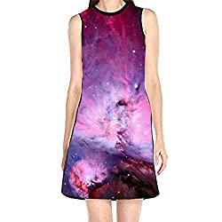Women S Sleeveless Sundress Orion Nebula Print T Shirt Dress A Line Tunic Shirt