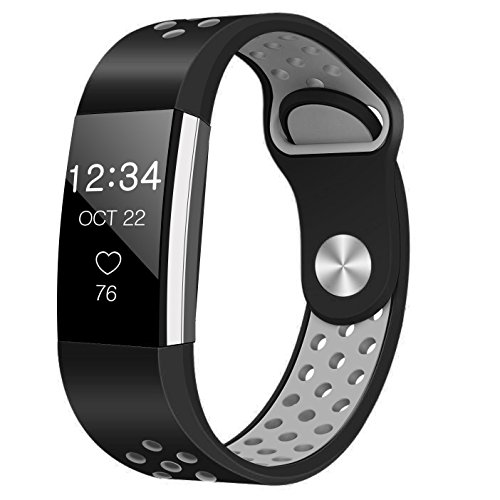 Band for Fitbit Charge 2 Heart Rate, Replacement Fitness Accessory Wristband (Z04-Black,Gray, - Band Warranty Limited