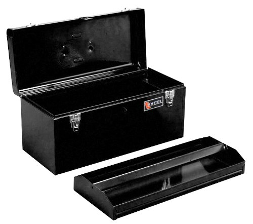 Excel TB140-Black 20-Inch Portable Steel Tool Box, Black