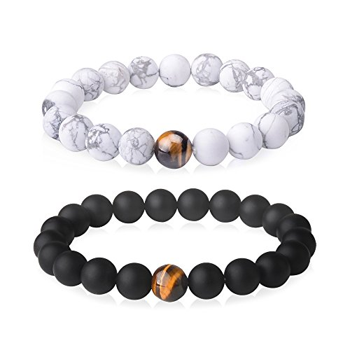 Jeka 2Pcs Distance Bracelets Set for Men Women 10mm Beads Healing Energy Elastic Black Matte Agate Onyx White Howlite Stone Relationship Couples Friends by Jeka