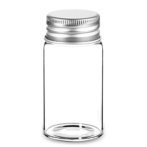 Pack of 25 - 1.7 Oz 50ml Empty Clear Glass Bottles with Screw Lids Sealed - Multi Purpose Air Tight Storage Containers
