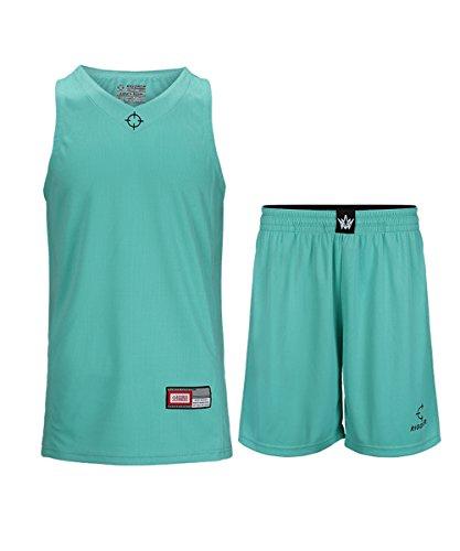 Moisture Management Jersey - RIGORER Reversible Moisture Management Muscle Shirt Basketball Jersey Green XL