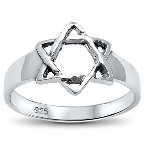 David Reproduction (Sterling Silver Plain Star of David Ring Sizes 7)