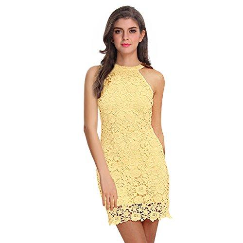 Sue&Joe Women's Sheath Dress Halter Floral Lace Crochet Above Knee Bodycon Dress, Yellow, TagsizeL=USsize8-10