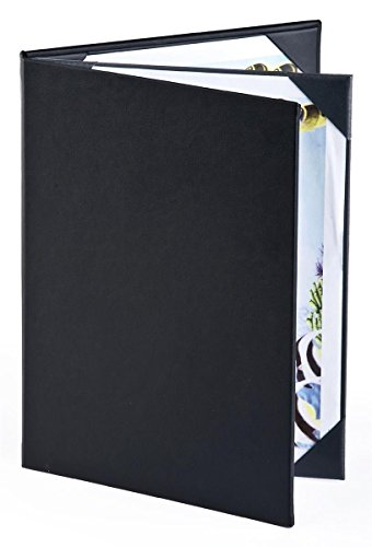 Set of 25, Menu Covers for Restaurants Hold (4) 8.5'' x 11'' Entrée Lists, 3-panel Menu Presenters with Hardcover Design, Black, Synthetic Leather - 9.125'' x 11.5'' x 0.75'' by Displays2go