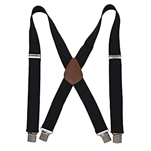 "Men' s X Back Black Suspenders with 4 Quality Controlled Clips & 1.4"" Wide Braces & Heavy Duty"