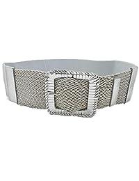 TFJ Women Fashion Elastic Wide Belt Hip Waist Metallic Silver Square Buckle M L XL