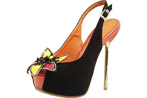 Scarpe Da Donna Fashion Couture Nere Multi Tacchi Peep Toe In Corallo