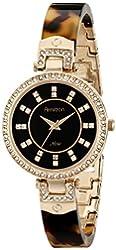 Armitron Women's 75/5276JMGPTO Swarovski Crystal Accented Tortoise Resin Bangle Watch