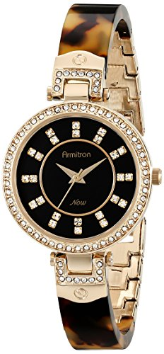 Armitron Women's 75/5276JMGPTO Swarovski Crystal Accented Tortoise Resin Bangle Watch