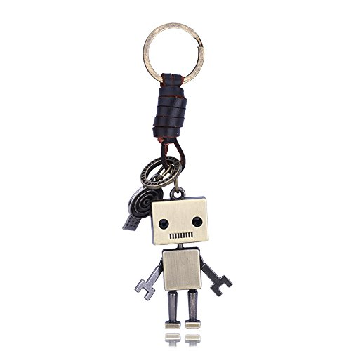 Cute Robot (Brass Retro Robot Leather Moven Fabric Keychain Rings Perfect Gifts Souvenirs)