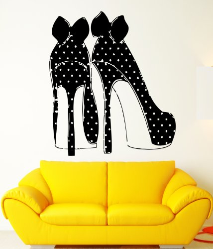 High Heel Fashion Shoes Polka Dots Bows Decor Wall Mural Vinyl Art Sticker M504