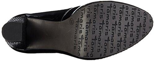Tamaris22435 - Zapatos de Tacón Mujer Negro (BLK PAT./STRUC 051)