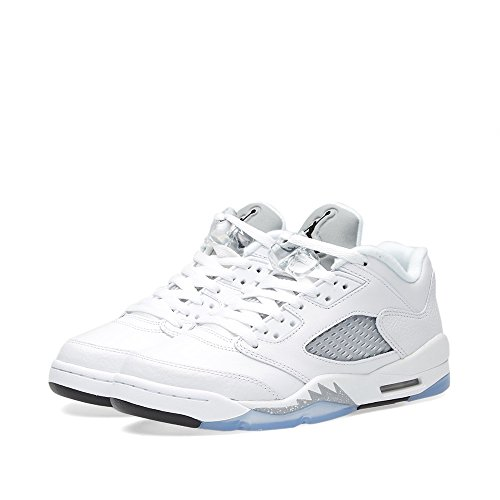Nike Air Jordan Junior Big Kids Retro 5 Low White Leather Fashion Sneakers 8 (Jordan Retro 6 Shoes Size 8)