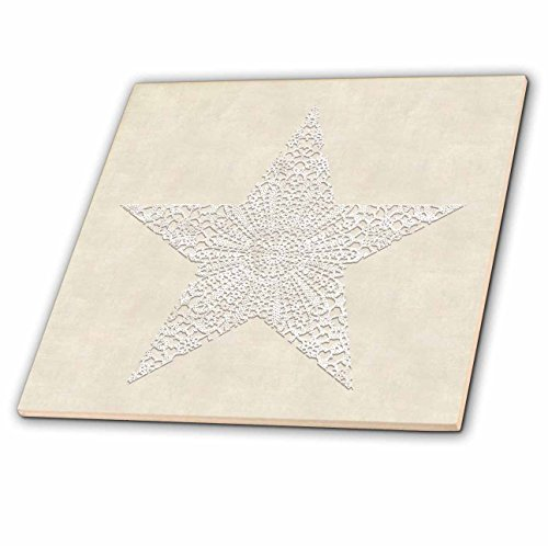 Andrea Lace - 3dRose Andrea Haase Art Illustration - White Lace Star On Beige Surface - 4 Inch Ceramic Tile (ct_271221_1)