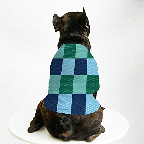 YOLIYANA Navy and Teal Soft Pet Suit,Aquatic Colored Squares with Old Fashioned Polka Dots Retro Style Maritime Decorative for Cats and Dogs,L