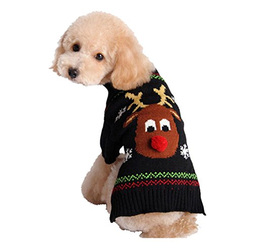[Red Nose Deer Christmas Pet Sweater Cat Dog Clothing Clothes Xmas Sweaters (M)] (Period Piece Halloween Costumes)